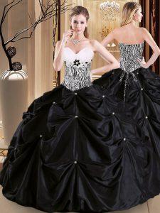 Romantic Sleeveless Floor Length Pick Ups Lace Up 15th Birthday Dress with Black
