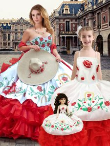 Custom Design White And Red Ball Gowns Organza Sweetheart Sleeveless Embroidery Floor Length Lace Up 15 Quinceanera Dress